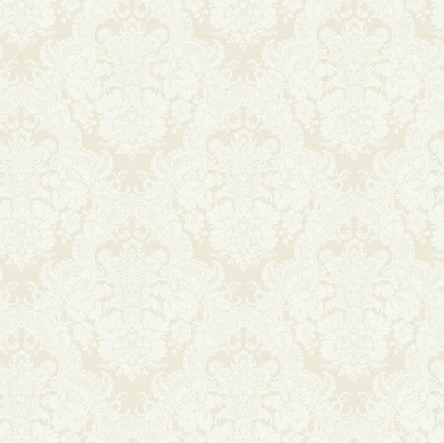 Inspired By Color™ Black & White Document Damask Wallpaper, White With Silver/Beige