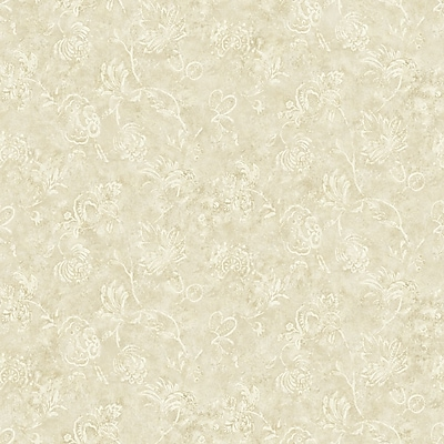 Inspired By Color™ Beige Washy Jacobean Wallpaper, Oyster With Tan/Gray