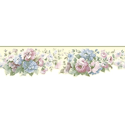 Inspired By Color™ Borders Document Floral Border, Creamy White With Green/Light Blue/Gray/Pink