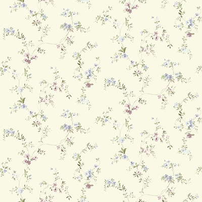 Inspired By Color™ Blue Document Vine Wallpaper, Cream With Green/Blue/Pink