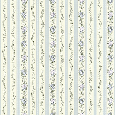 Inspired By Color™ Blue Document Floral Stripe Wallpaper, Light Cream With Blue/Green/Lavender