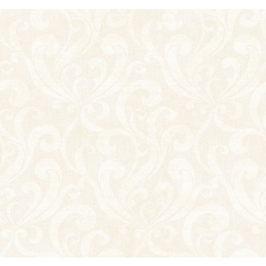 Inspired By Color™ Black & White Allover Scroll Wallpaper, Golden Metallic With Cream