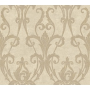 Inspired By Color™ Beige Ogee Damask Wallpaper, Cream With Silvery Taupe