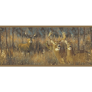 Inspired By Color™ Country & Lodge White Tail Deer Border Wallpaper, Brown
