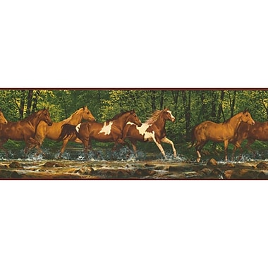 Inspired By Color™ Borders Running Horses Border, Brown With Black/Tan/Brown