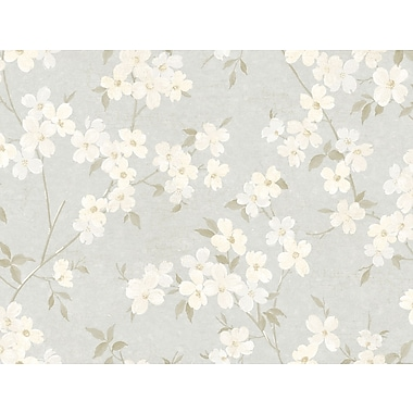 Inspired by Color™ Beige Dogwood Wallpaper, Silver With Cream/Gray