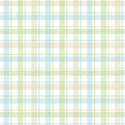 Inspired By Color™ Kids Woven Plaid Wallpaper, White With Green/Beige/Blue