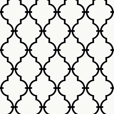 Inspired By Color™ Black & White Trellis Wallpaper, White With Black