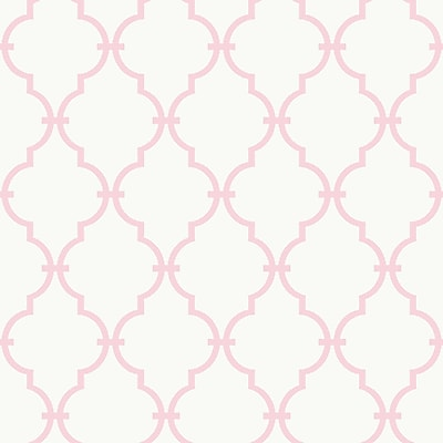 Inspired By Color™ Pink & Purple Trellis Wallpaper, White With Soft Pink
