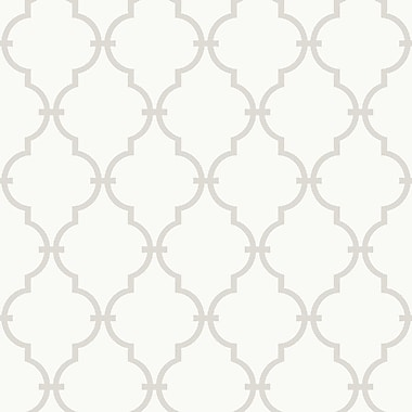 Inspired By Color™ Beige Trellis Wallpaper, White With Gray