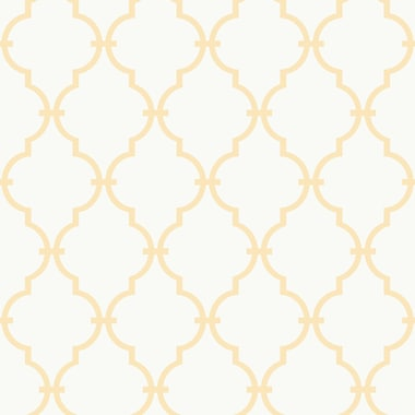 Inspired By Color™ Orange & Yellow Modern Baby Trellis Wallpaper, White With Yellow