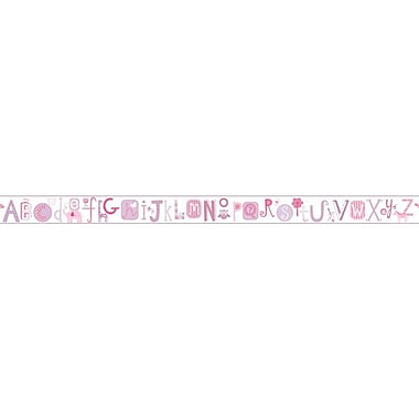Inspired By Color™ Borders Alphabet Border, Off White With Pink/Purple/Deep Pink