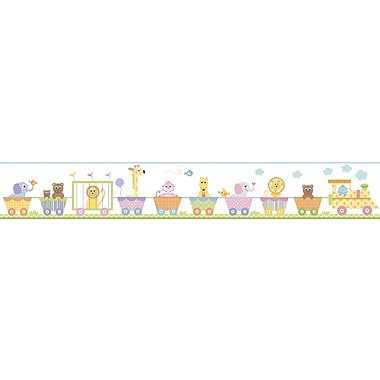 Inspired By Color™ Kids Circus Train Border, White With Pink/Blue/Green/Yellow