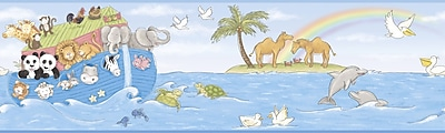 Inspired By Color™ Kids Noah's Ark Border, Blue With Green/Gray/Tan