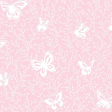 Inspired By Color™ Pink & Purple Butterfly Garden Sidewall Wallpaper, Pink With White
