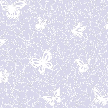 Inspired By Color™ Pink & Purple Butterfly Garden Sidewall Wallpaper, Soft Purple With White