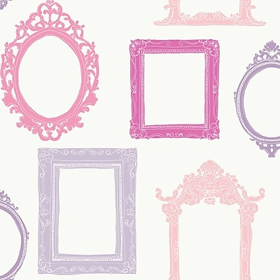 Inspired By Color™ Pink & Purple Fancy Frames Sidewall Wallpaper, White With Pink/Purple