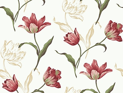Inspired By Color™ Red Tulip Sidewall Wallpaper, White With Off White