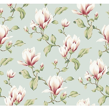 Inspired By Color™ Blue Magnolia Branch Sidewall Wallpaper, Blue
