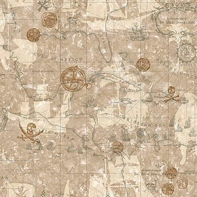 Inspired By Color™ Kids Pirate Map Sidewall Wallpaper, Beige With Tan/Gold