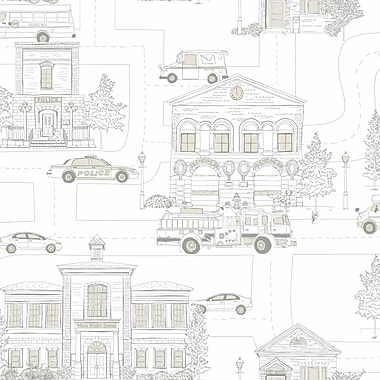 Inspired By Color™ Kids Main Street Sidewall Wallpaper, Off White With Gray
