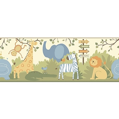 Inspired By Color™ Kids A Day At The Zoo Border, Cream With Blue/Green/Orange