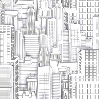Inspired By Color Kids Spiderman City Sidewall Wallpaper, White With Gray 264408