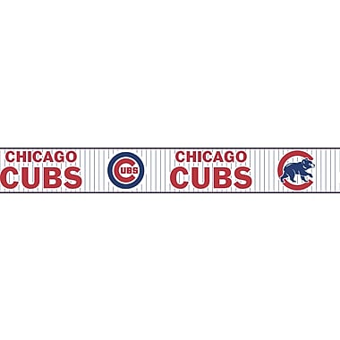 Inspired By Color™ Kids Chicago Cubs Pinstripe Border, Blue With Red/White
