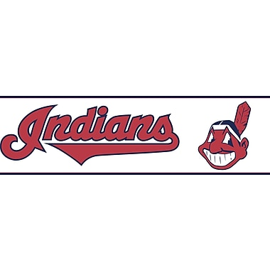 Inspired By Color™ Kids Cleveland Indians Border, Off White With Red/Navy Blue