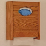 Wooden Mallet Combo Towel Dispenser and Glove/Tissue Holder; Medium Oak