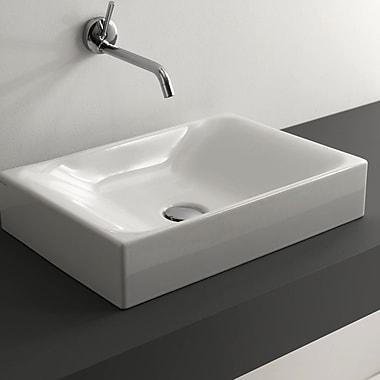 WS Bath Collections Cento Ceramic Rectangular Vessel Bathroom Sink