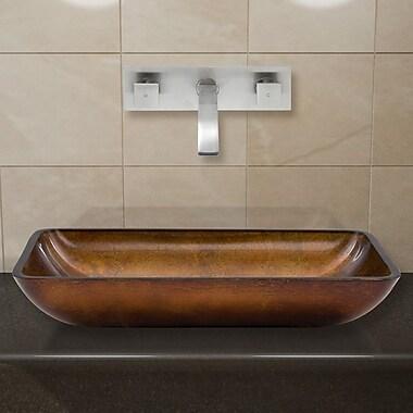 Vigo Russet Glass Rectangular Vessel Bathroom Sink w/ Faucet; Brushed Nickel