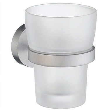 Smedbo Home Frosted Glass Tumbler and Tumbler Holder; Brushed Chrome