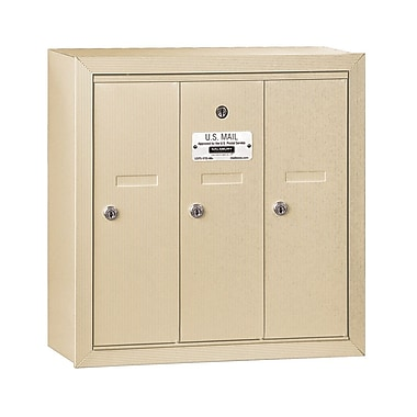 Salsbury Industries 3 Door Front Load Vertical Mail Center; Sandstone