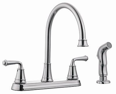 Design House Eden Double Handle Kitchen Faucet w/ Side Spray; Polished Chrome