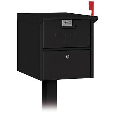 Salsbury Industries Locking Post Mounted Mailbox; Black