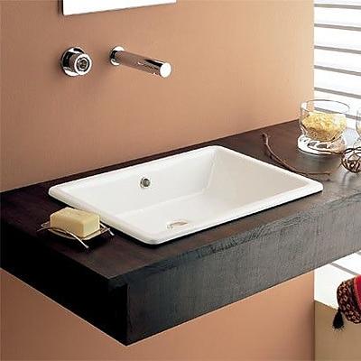 Scarabeo by Nameeks Gaia Ceramic Rectangular Drop-In Bathroom Sink w/ Overflow