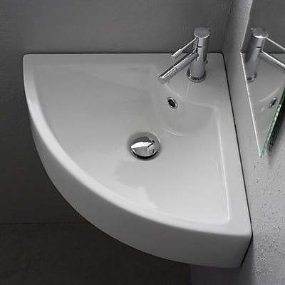 Scarabeo by Nameeks Ceramic 19'' Corner Bathroom Sink w/ Overflow
