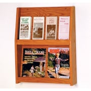 Wooden Mallet 4 Magazine / 8 Brochure Wall Display; Medium Oak