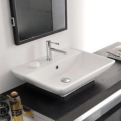Scarabeo by Nameeks Kylis Ceramic Rectangular Vessel Bathroom Sink w/ Overflow