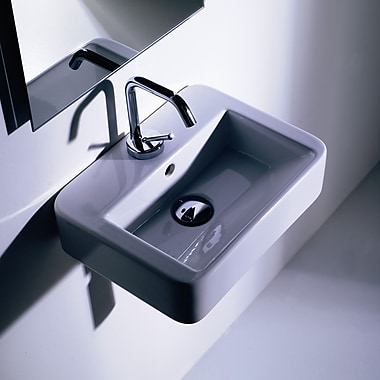 WS Bath Collections Momon Rectangular Wall mounted Bathroom Sink w/ Overflow