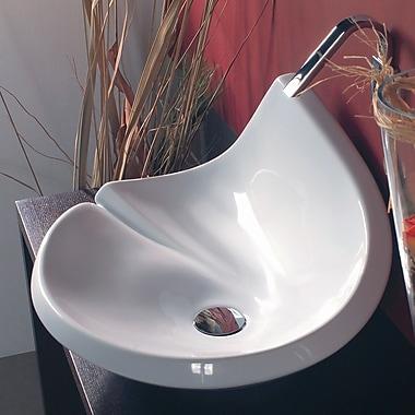 WS Bath Collections Minimal Ceramic Rectangular wall mounted Bathroom Sink w/ Overflow