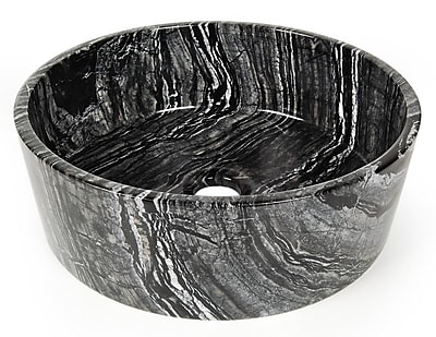 D'Vontz Natural Stone Sinks Stone Circular Vessel Bathroom Sink; Galala Marble