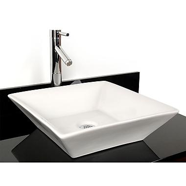 D'Vontz Barbados China Square Vessel Bathroom Sink; White