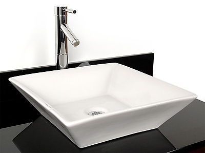 D'Vontz Ceramic Square Vessel Bathroom Sink; White
