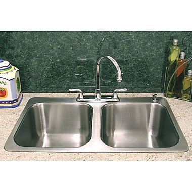 A-Line by Advance Tabco 33.5'' X 21'' Double Bowl Drop-In Kitchen Sink