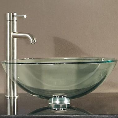 Avanity Tempered Glass Vessel Circular Vessel Bathroom Sink w/ Overflow; Clear