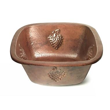 D'Vontz Copper 15'' x 15'' Square Bar Sink w/ Grape Relief; Dark Smoke Copper