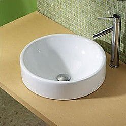 DecoLav Raina Classically Redefined Ceramic Circular Vessel Bathroom Sink w/ Overflow