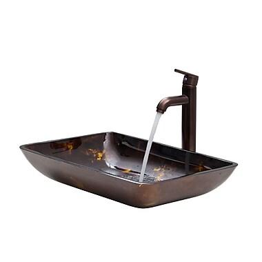 Vigo Fusion Glass Rectangular Vessel Bathroom Sink w/ Faucet; Fusion